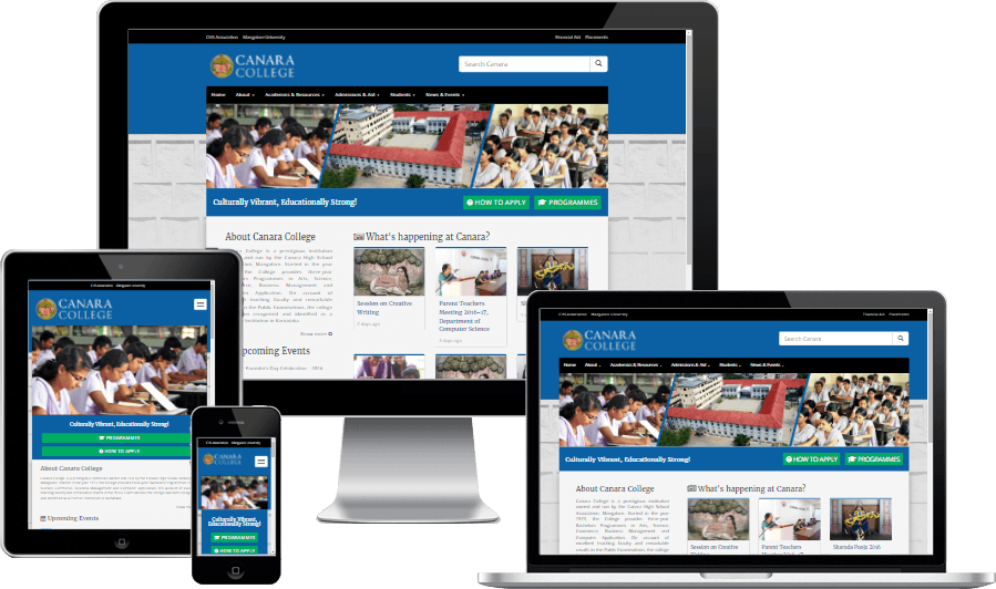 CMS enabled Responsive Website for Canara College