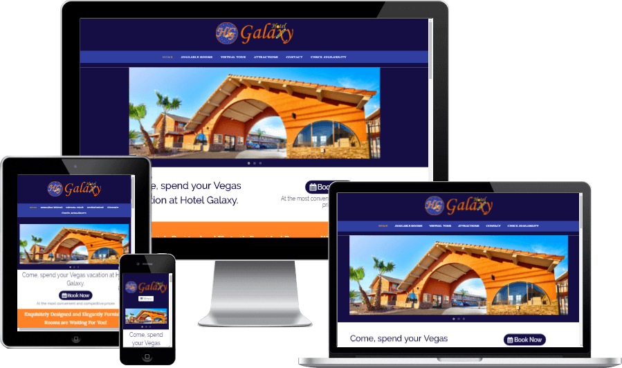 Minimalistic Responsive Website Design for Hotel Galaxy Las Vegas
