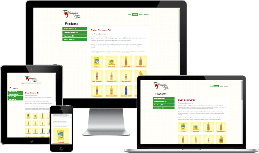 Simplistic Responsive Website Design for Vinayaka Agro